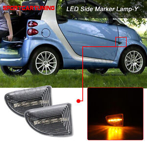 For 2007-15 Smart Fortwo W451 Amber LED Side Marker Light Turn Signal Lamp Clear
