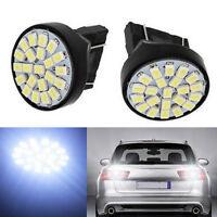 2pcs White T25 3157 22SMD 1206 LED Car Tail Rear Brake Reverse Light Bulb DR