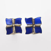 Vintage Cobalt Blue Enamel Silver Earrings