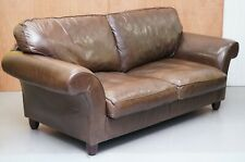 LAURA ASHLEY CHOCOLATE BROWN  LEATHER SOFA BED