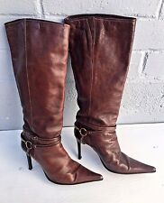 ALDO Dark Brown Leather Knee-high BOOTS Size EU 40 - US 9