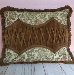 Vintage Brown Velvet Embroidered Tapestry Pillow Belgian Roses Victorian Antique