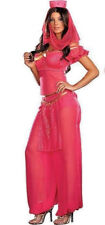 Womens Pink Genie Jasmine Aladdin Disney Ladies Fancy Dress Costume Size 14 - 16
