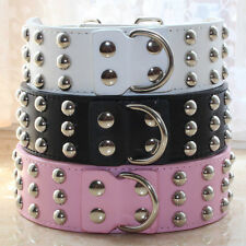 3 Row Spiked Studded Leather Pet Dog Collar M L XL for Large Dog Pitbull Terrier