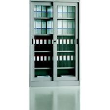 NSP02663 Armadio archivio in metallo ufficio con ante in vetro 150x45x200 con se