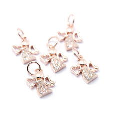 10 Brass Paved Cubic Zirconia Rhinestone Charms Angel Rose Gold Nickel Free 12mm