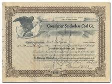 Greenbriar Smokeless Coal Company Stock Certificate (West Virginia)