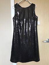 SEARLETT NITE Black Sleeveless Liquid Sequin Wrap Evening Dress Size 12 $120.00