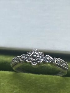 Colonial Williamsburg Marcasite Bow Ring Sterling Silver Rococo 1770s Style Sz 7