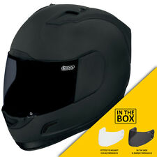 Icon Alliance Dark Black Full Face Motorcycle Helmet + FREE VISOR | All Sizes