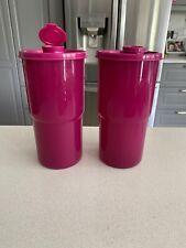 Tupperware ThirstQuake Mega Tumbler Seal&Flip-Top Spout 30oz Radish Purple X2