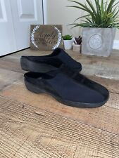 Stuart Weitzman Womens Suede Strip Mules Slides Stretch Loafers Black Shoes 9B