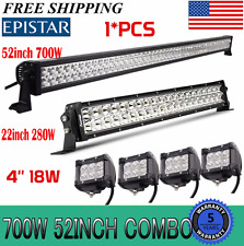 "52Inch LED Light Bar Combo + 20in 7D +4"" CREE PODS OFFROAD SUV 4WD ATV FORD 4WD"