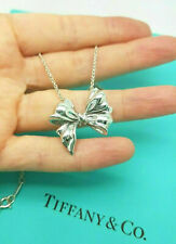 """VINTAGE Tiffany & Co. Silver Large Ribbon Bow Chain 18"""" Necklace Very Rare !"""