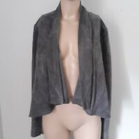 BCBG Faux Suede Draped Waterfall Jacket Coat M Grey Cropped Maxazria Open Front