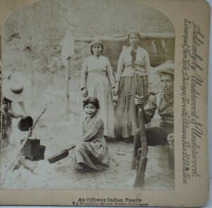 Antique Stereoview, Ojibway Indian Family, Chippewa, Native American, Campfire