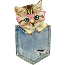 Pocket Cat Pattern Patch Ironing Stickers Heat Transfer Iron On Patches