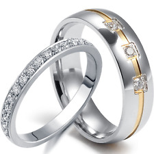 2 PCS His Hers Wedding Ring Set Mens ETERNITY .925 Women's STERLING SILVER Bands