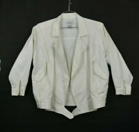 VTG Together Womens White Open Front Denim Jacket Long Sleeves Size Small