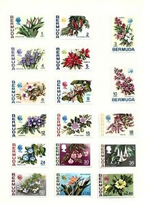 BERMUDA (H7) 1970 SG249-65a  1c TO $3.00 FLOWERS FULL SET OF 24 FINE MM