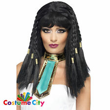 Womens Ladies Egyptian Pharaoh Queen Cleopatra Braided Wig Fancy Dress Accessory