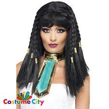Mujer señoras Faraón Egipcio Reina Cleopatra Trenzado Peluca Disfraz Accesorio