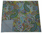 INDIAN WHITE PAISLEY KANTHA QUILT THROW BEDSPREAD Ethnic Vintage Decor India Art