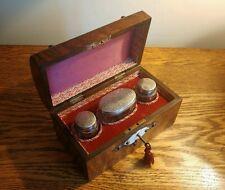 SUPERB VICTORIAN WALNUT PERFUME BOX BRASS MOUNTS & 3 SILVER TOP BOTTLES H/M 1874