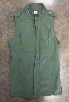 CAbi Womens 5101 Explorer Green Zip Up Cotton Stretch Vest Sz M
