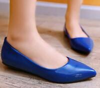 Womens Flats Point Toe Pumps Patent Leather Slip On Casual Ballet Shoes Court OL