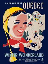 Quebec Winter Wonderland Canada Canadian Pacific Travel Advertisement Poster