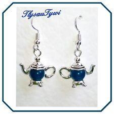 Teapot Gemstone Earrings ..Teal Blue Malaysian Jade/Silver
