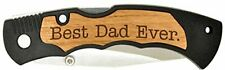 Foldable Hunting Pocket Knife for Father's Day Gift w/ Best Dad Ever Engraving
