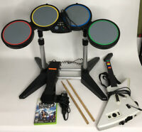 Xbox 360 Rock Band Bundle Drums Foot Pedal Guitar Mic And Game TESTED