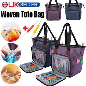 Portable Knitting Bag Tote Wool Crochet Storage Sewing Needles Organizer Holder