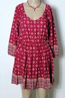 HOLLISTER Kleid Gr. XS himbeer-rot 3/4-Arm Hippie Folklore Muster Mini Kleid