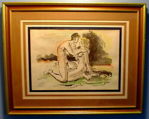 Post Impressionist Watercolor of Lovers by Yossi Stern (1923-1992)
