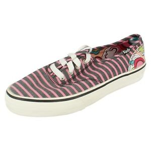 SALE Ladies Keds Pink/Black striped Lace Up canvas shoes DUTCH