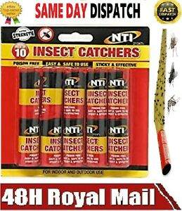 Fly Insect Catcher Paper Sticky Glue Bug Trap Killer Strong 10 Rolls Tape Strips