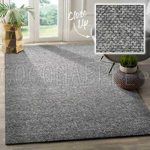 Clair Hand Woven Wool Charcoal Grey Modern Floor Rug 3 x Sizes **FREE DELIVERY**