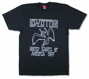 Led Zeppelin USA 1977 Tour Back Swan Song Black T Shirt NEW, OFFICIAL