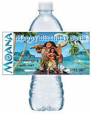 20 DISNEY MOANA BIRTHDAY PARTY FAVORS WATER BOTTLE LABELS ~ waterproof ink