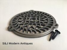 Round Grill Air Vent Cover Cast Iron Grille 100mm Mesh Black Victorian Vintage