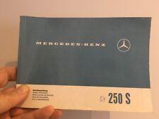 1967 Mercedes Benz 250 S Owner Mainetenance Manual Original