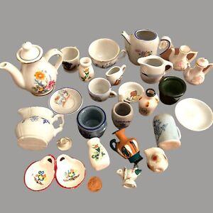 ✅ Sammlung Puppen-Haus Stube Geschirr ALT 1-7cm Porzellan Steingut Spielzeug