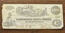 1862 Csa Note, $100, T-39, Steam Train, Hoyer & Ludwig, F+ Condition