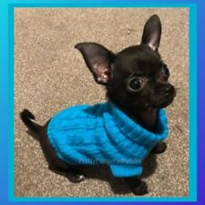 XXXS Chihuahua Coat Clothes OCEAN BLUE Puppy Knitted Coat Clothing Dog