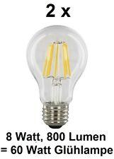 2 x 8 Watt FILAMENT-LED Birne, E27, Klarglas Warmweiß ~60 Watt Glühbirne