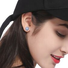 Evil Eye Protection Blue Crystal Round Stud Earring Jewelry for Women Girl Gift