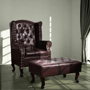 Chesterfield Armchair With Footstool Faux Leather Luxury Chair Tufted Furniture